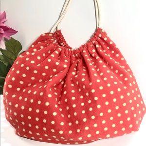 Bucket bag - beach - gym- terry cloth polka dot
